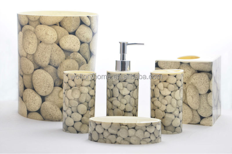 Hot sale made in china real stone printed plastic bathroom for Stone bathroom accessories sets