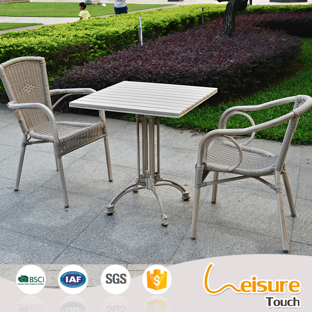 Elegant design rattan polywood outdoor garden patio table and chairs