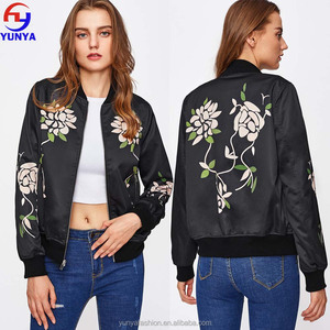 Custom fashion flower print autumn causal woman bomber jacket