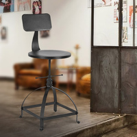 Industrial Style Metal Bar Stool Ajustable Height Swivel Kitchen Dining Chair
