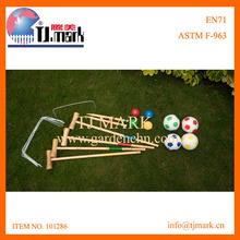 2 IN 1 SPORT GAME WOODEN CROQUET & FOOTBALL GAME