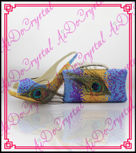 Aidocrystal Handmade New coming party shoes and matching blue crystal bag high quality