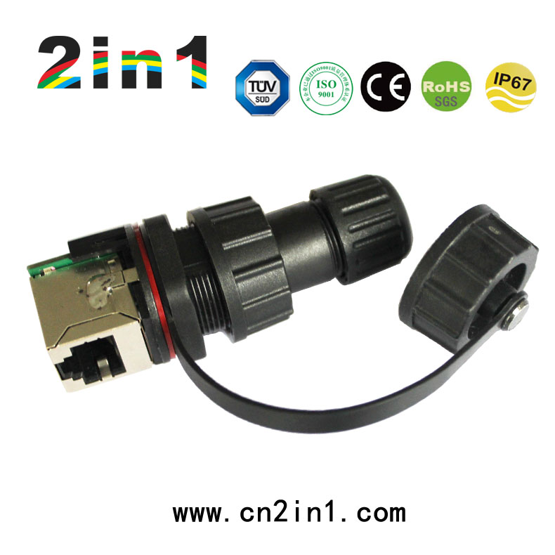 IP67 Front Panel Mounted Male Female Waterproof RJ45 Connector with Ethernet Cable