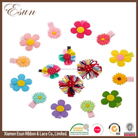 Stretchy grosgrain baby toddler ribbon bows flowers mixed design hair clips