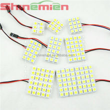 Car Interior Light Panel 6/9/12/18/24/36/48 SMD LED T10 BA9S Dome Festoon Bulb Adapter 12V