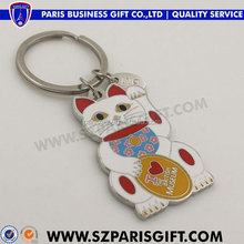 fortune cat metal keychain custom with multiple-colour enamel
