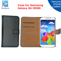 Mobile Phone Case Factory Price for Samsung Galaxy S4 i9500 Genuine Leather Stand Wallet Cover