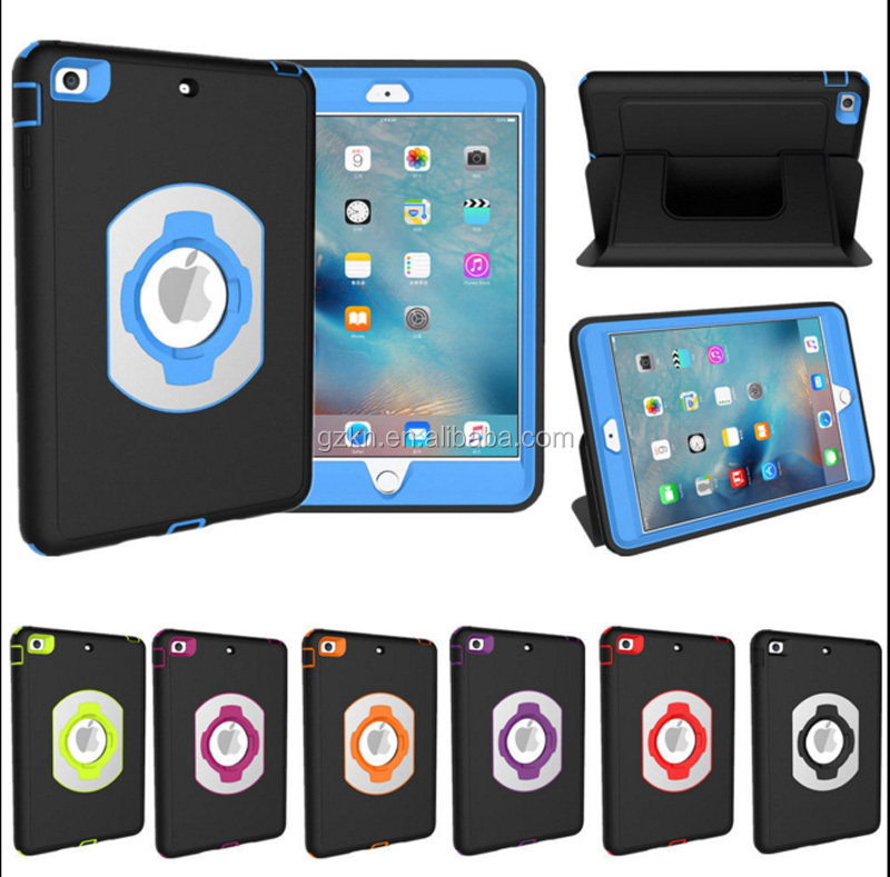 For iPad mini 4 shockproof rubber rotated foldable stand folio cover case