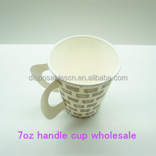 7oz Disposable Hot drink paper cup with handle wholesale