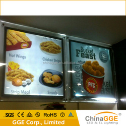 Frameless led advertising custom led menu acrylic light box material a4 illuminated picture frames for restaurant menu display