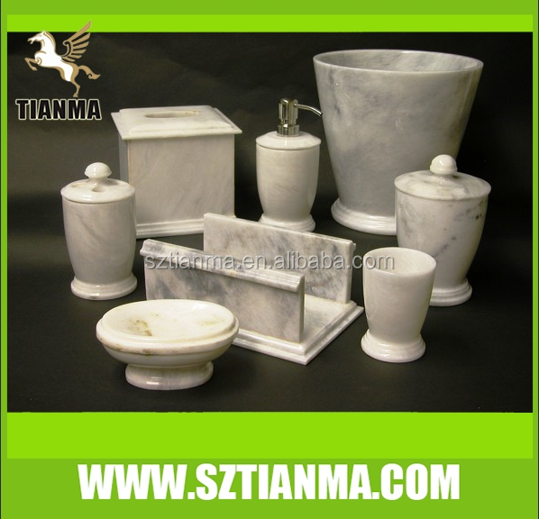 Hot Popular White Marble Bathroom Accessories Set