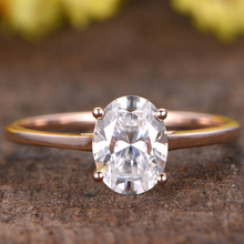 PLW014 Oval Cut Forever Classic Moissanite of 14K 18k rose gold Wedding band Ring