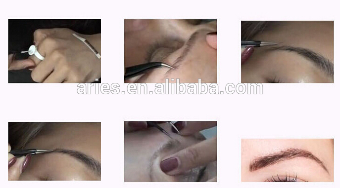100% Human Hair False Eyebrow Hand Made Aritfical Fake Woman Eyebrow removable
