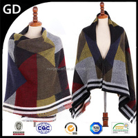 GDK0151 Scarf factory china checkered pashmina square knit infinity scarf pattern