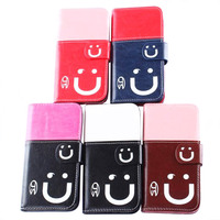 attractive smiling face stand PU leather case for iphone6/6s/6 plus