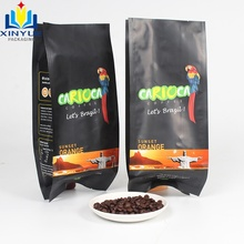 customer printed plastic mylar foil <strong>paper</strong> laminated side gusset packaging pouch for coffee bean bags with one-way valve