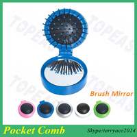 Mini Folding Travel Hair Brush and Mirror Sets