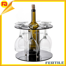 HZ7 Clear Wine Rack- Classic Style Wine Bottle Racks with Wine Glass holders