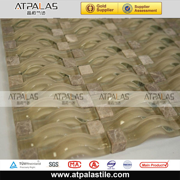 3D wavy glass tile for backsplash and kitchen with factory wholesale supply