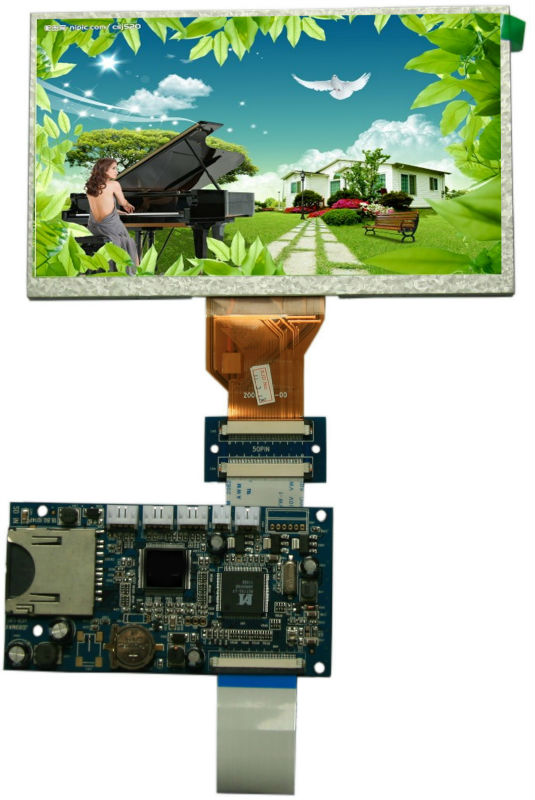 7 inch hd lcd display module with Touch Screen 800x480 control board SD card recording