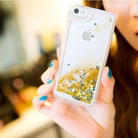 Glitter flowing liquid star case for iphone 5 5s