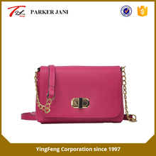 Fashion litchi pattern pu leather single golden shoulder bag for women