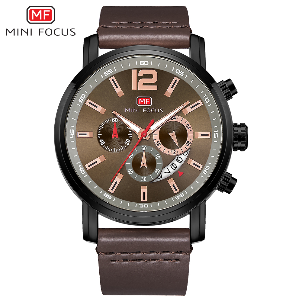 MINI FOCUS MF0086G Men's Quartz Watch Luxury Brand 24 Hour <strong>Date</strong> Man 3 ATM Waterproof Clock Leather Band Wrist Watch