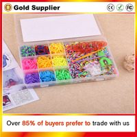 Colorful Gifts fun rubber loom bands box set make rubber band dIY loom charms bracelet silicone kit refill