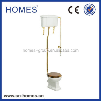 Gold plated Traditional High Level Flush Pipe WC Completed Kit