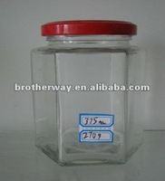 clear hexagon glass jar with tin lid