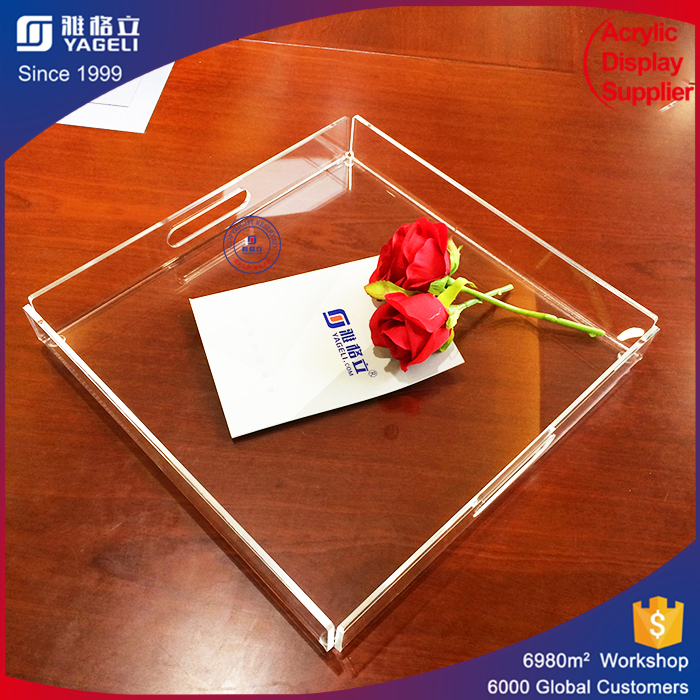 Wholesale acrylic flower plate crystal plastic sweets dry fruit tray candy display trays china factory