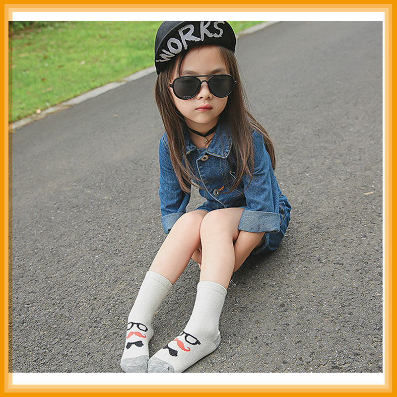 2016 autumn/winter new cartoon beard glasses gentleman children thick cotton socks