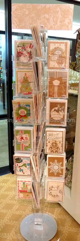 Clear Acrylic Greeting Card Holder Acrylic Gift cards Display Stand Acrylic 24 Pocket Deluxe Spinners