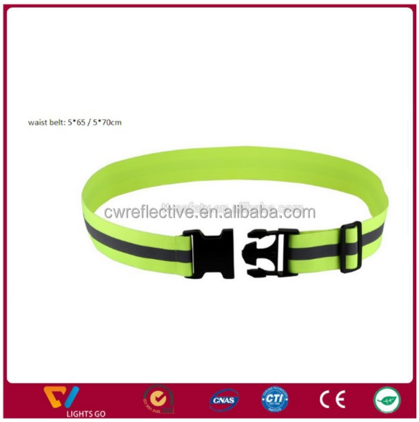 high light reflective elastic safety waist belt with customized buckle