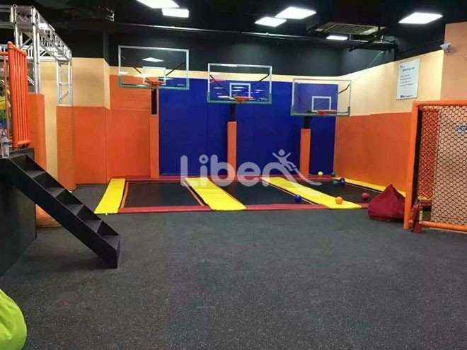 Ninja course dodgeball zone and free jumping zone included for Indoor trampoline park design manufacturing