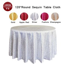 Wholesale 1 Embroidered Table Overlay Blue Sparkly Sequin Round Table Cloth for Wedding Decoration Cheap Table Linens Retail