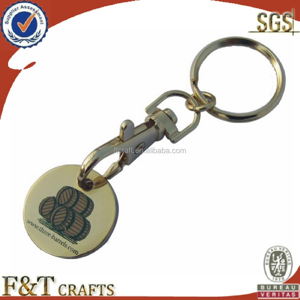 High quality plating goldl two side printing logo trolley coin/trolley coin keyring/trolley coin keychain