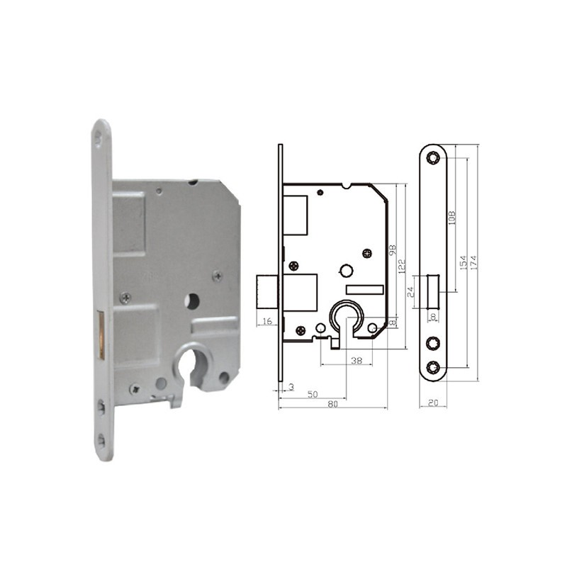 5150 Attractive design 55mm alloy mortise center cylinder lock