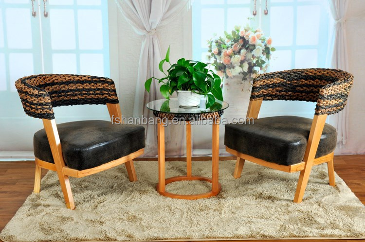 2016 new design rattan water hyacinth table and chair for coffee