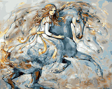 white horse and girl diy paint by numbers oil painting by numbers