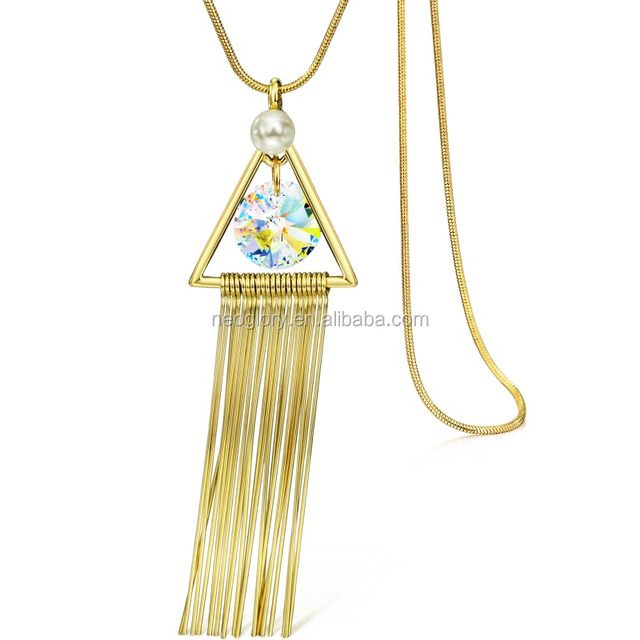 14 Karat Real Gold Plated Wholesale New Model Snake Chain Metal Tassel Necklace Made With Swarovski Elements