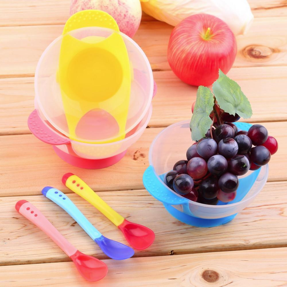 Baby Infants feeding Bowl With Sucker,Temperature Sensing Spoon Baby Learnning Dishes Assist food Spoon Bowl Set