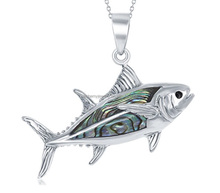 China Factory Alibaba Supplier trendy jewelry fish shape sterling silver 925 animal pendant Ocean Opal jewelry manufacturer