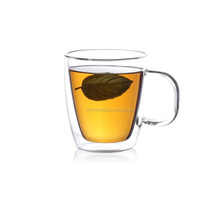 Clear bulk Glass Tea Cup with handle