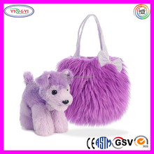 B762 Fluffy Lavender Long Fur Pet Dog Carrier Bags Plush Luxury Quality Pet Carry Bag