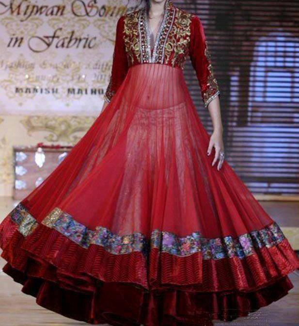 anarkali long flaired frock