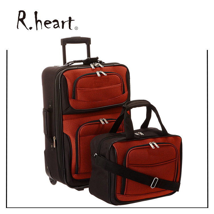 Luxurious superior travel luggage bag and trolley suitcase bag wheeled trolley two piece carry on luggage set