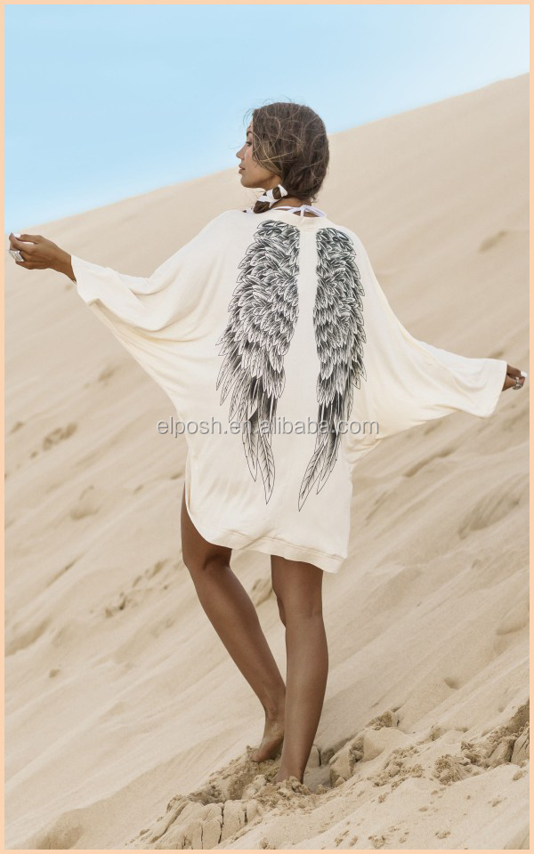 White Wings Printed Summer Batwing Sleeve Cover Up Robe Beach Kimono