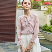 Pink long sleeve transparent ladies chiffon kurti style blouse designs for lady