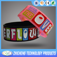 cheap custom silicone bracelets no minimum with debossed color filled